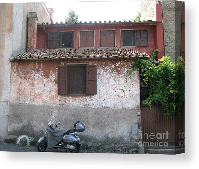 House And Scooter Canvas Print featuring the photograph House And Scooter Rome Italy by Barbara Saccente