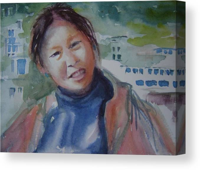 Tibetan Woman Canvas Print featuring the painting Lhamo-la by Holly Stone