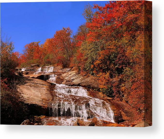 Fall Colors Canvas Print featuring the photograph Lower Graveyard Falls by Steve Kraft