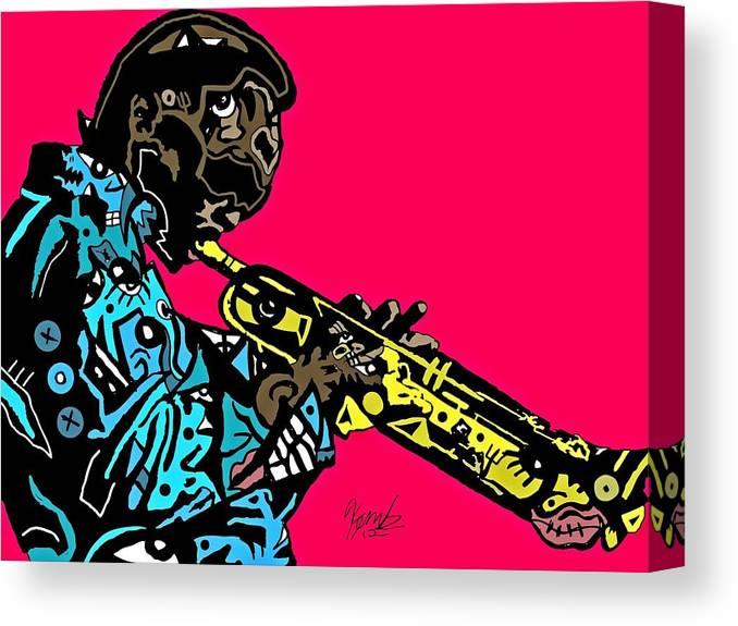Jazz Canvas Print featuring the digital art Miles Davis Full Color by Kamoni Khem