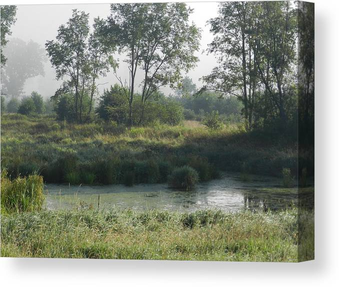 Landscape Canvas Print featuring the photograph Morning Mist On Marsh by Dennis Leatherman