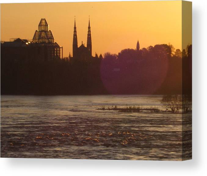 Paysage Urbain Canvas Print featuring the photograph Ottawa By Night 5 by Andre Paquin