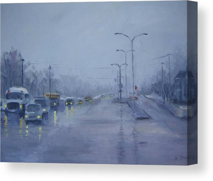 Urban Canvas Print featuring the painting Rainy Monday by Holly Stone