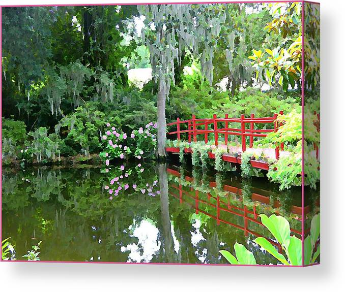 Garden Canvas Print featuring the photograph Red Bridge Over The Magnolia Swamp Land by Mindy Newman