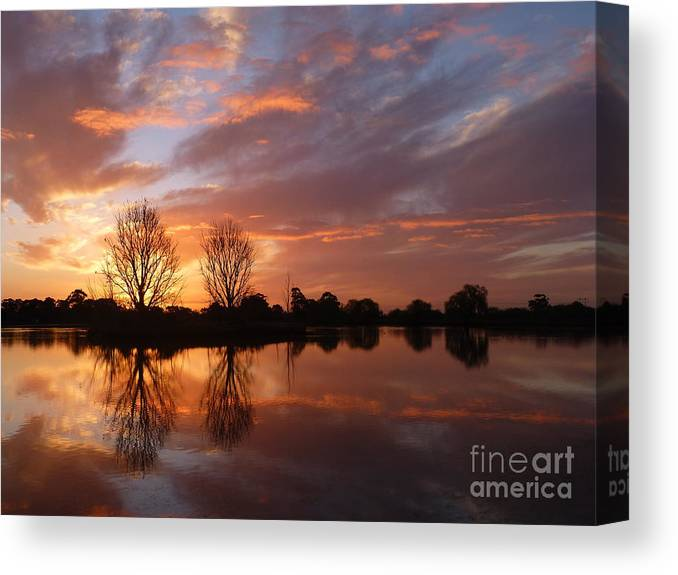 Sunset Over Lake Canvas Print featuring the photograph Sunset Over Lake At Finley by Nadine Kelly