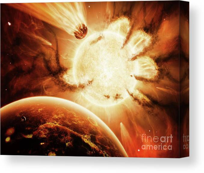 Artwork Canvas Print featuring the digital art The Hand Of Destiny Nebula Is Devouring by Brian Christensen