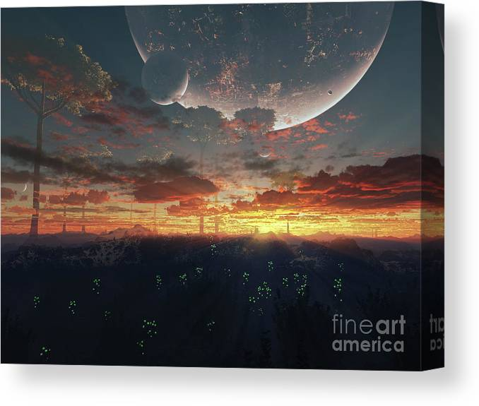 Artwork Canvas Print featuring the digital art The View From An Alien Moon Towards by Brian Christensen
