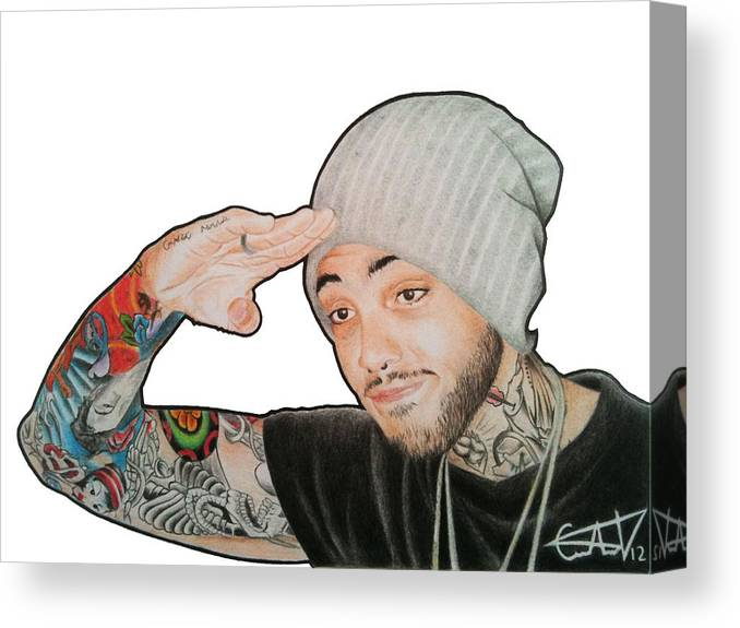Travie Canvas Print featuring the drawing Travie Mccoy by Carlos Velasquez Art