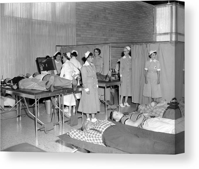 Blood Canvas Print featuring the photograph Blood Drive 1958 Black White 1950s Archive Brick by Mark Goebel