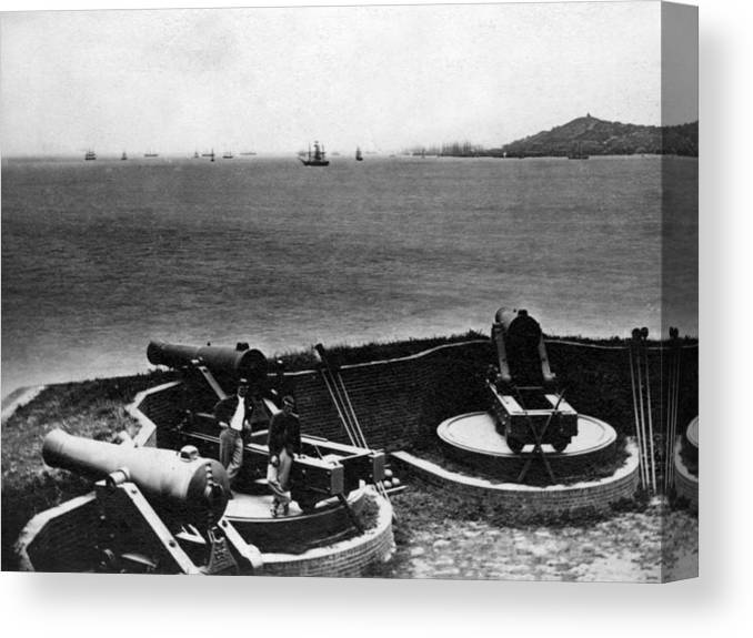 Cannons Canvas Print featuring the photograph Cannons In Fort Aimed Harbor Circa 1865 Black by Mark Goebel
