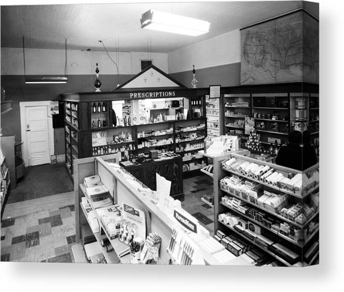 Counter Canvas Print featuring the photograph Counter In Drugstore 1959 Black White 1950s by Mark Goebel