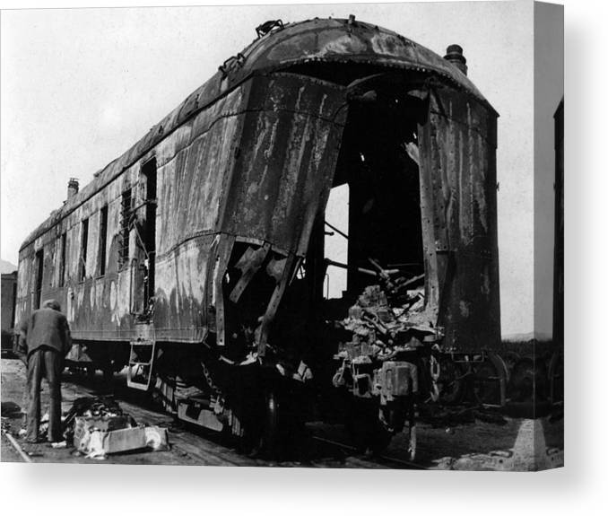 Exploded Canvas Print featuring the photograph Exploded Train Car Robbery October 1923 Black by Mark Goebel