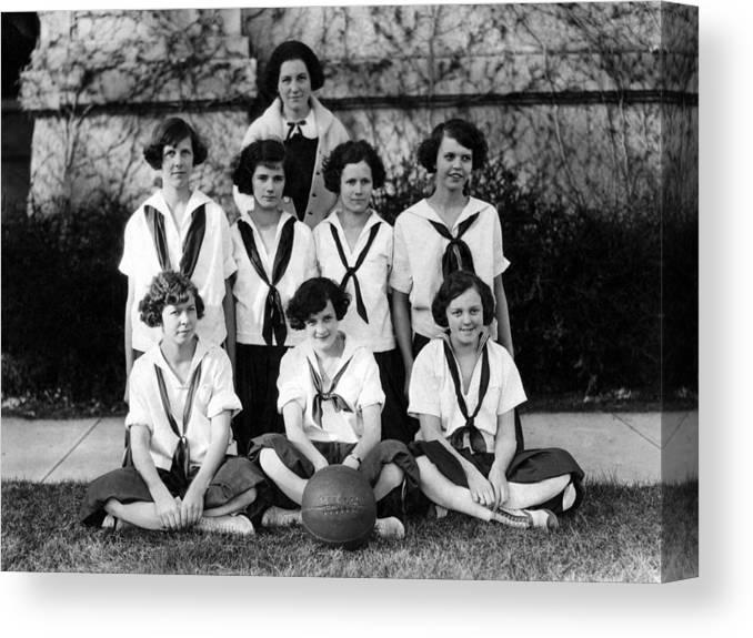 Girls Canvas Print featuring the photograph Girls High School Basketball Team 1910s Black by Mark Goebel
