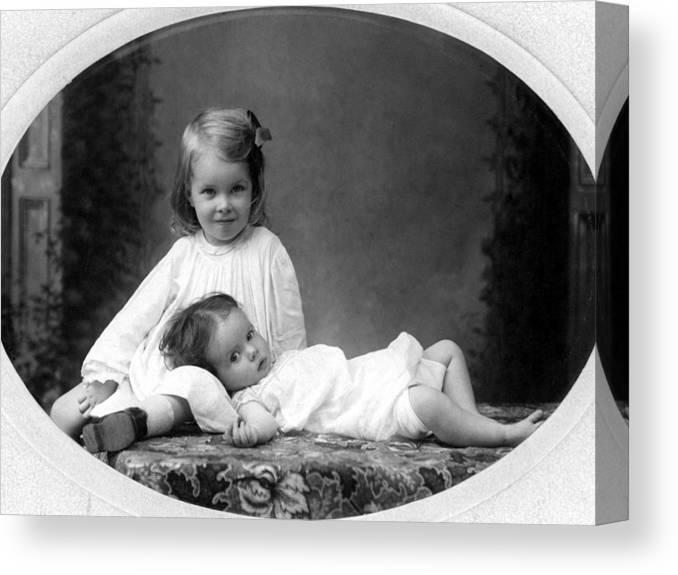 Girls Canvas Print featuring the photograph Girls Posing June 30 1905 Black White 1900s by Mark Goebel