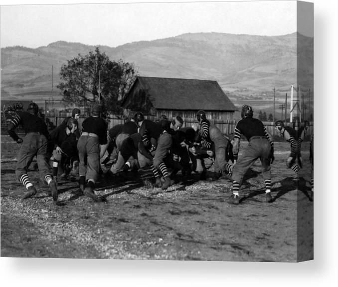 High Canvas Print featuring the photograph High School Football Game 1912 Black White 1910s by Mark Goebel