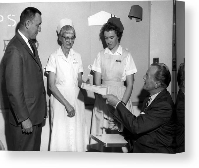 Man Canvas Print featuring the photograph Man Male Handing Award Nurse February 1964 Black by Mark Goebel