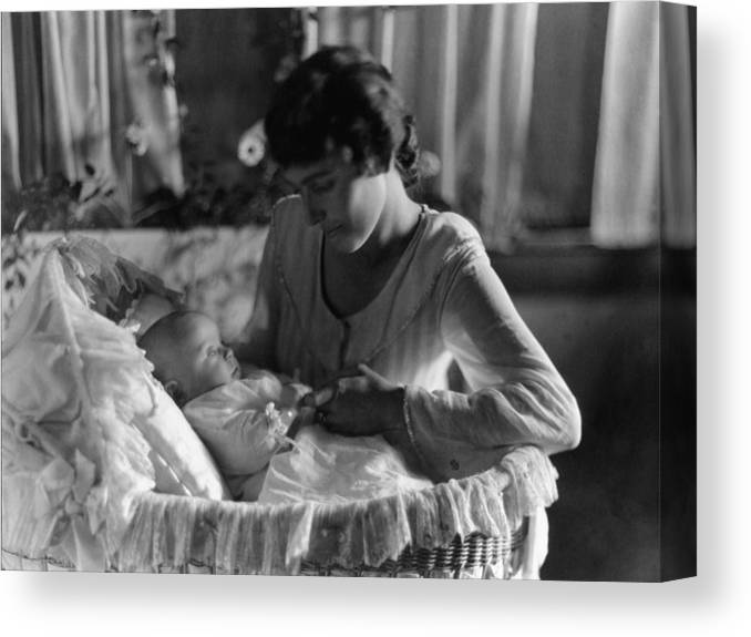 Mother Canvas Print featuring the photograph Mother Baby 1910s Black White Archive Bassinet by Mark Goebel