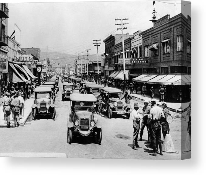 National Canvas Print featuring the photograph National Guard Unit In Town Circa 1925 Black by Mark Goebel