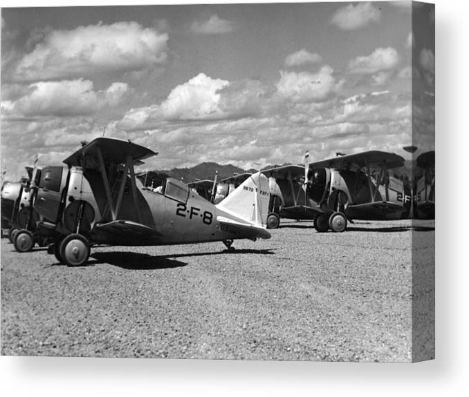 Navy Canvas Print featuring the photograph Navy Biplanes 19411945 Black White 1940s Airport by Mark Goebel