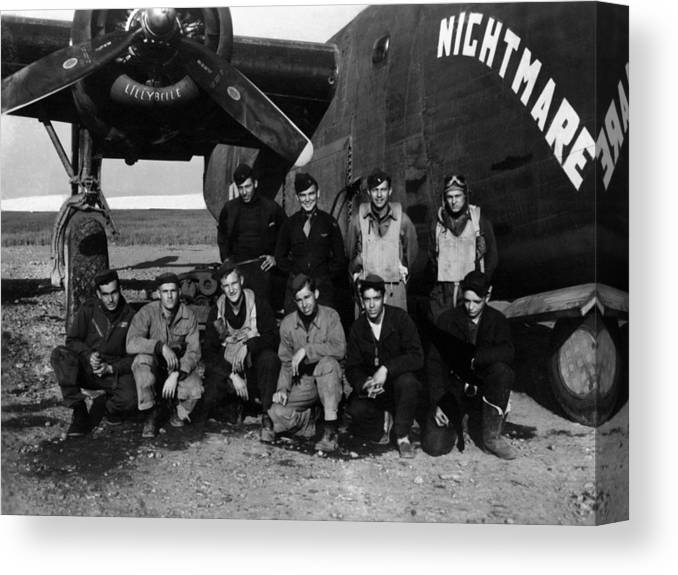 Pilot Canvas Print featuring the photograph Pilot Crew W Airplane Nightmare 19411945 Black by Mark Goebel