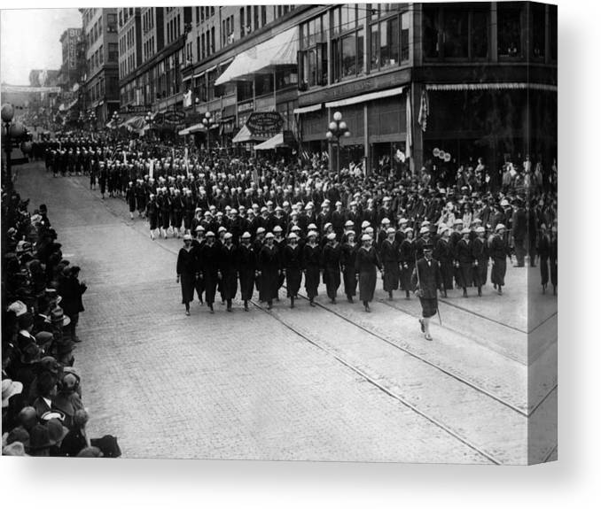 Sailors Canvas Print featuring the photograph Sailors Marching In Parade 19171918 Black White by Mark Goebel