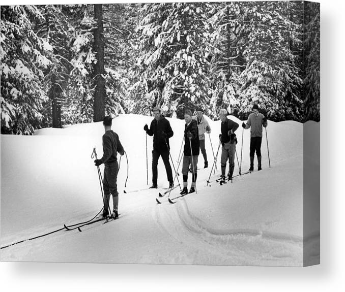 Skiers Canvas Print featuring the photograph Skiers January 19 1967 Black White 1960s Archive by Mark Goebel