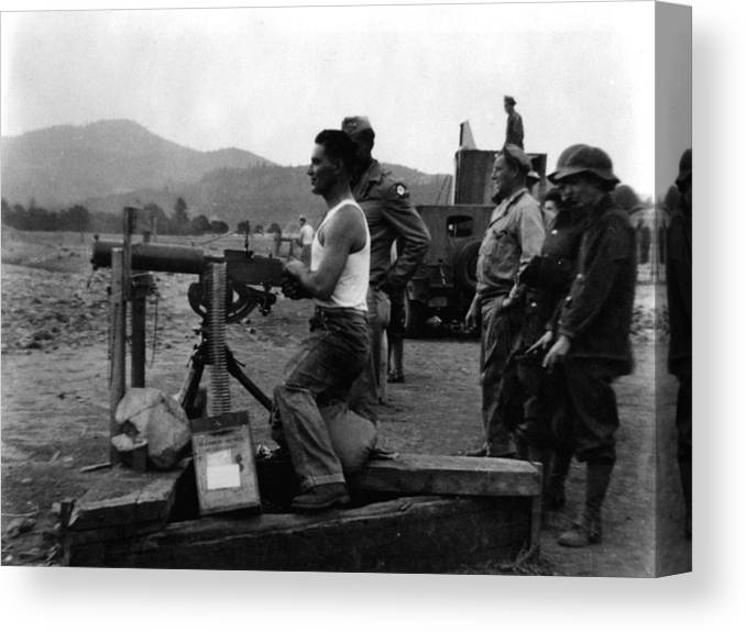 Soldier Canvas Print featuring the photograph Soldier Firing Machine Gun Circa 1943 Black by Mark Goebel