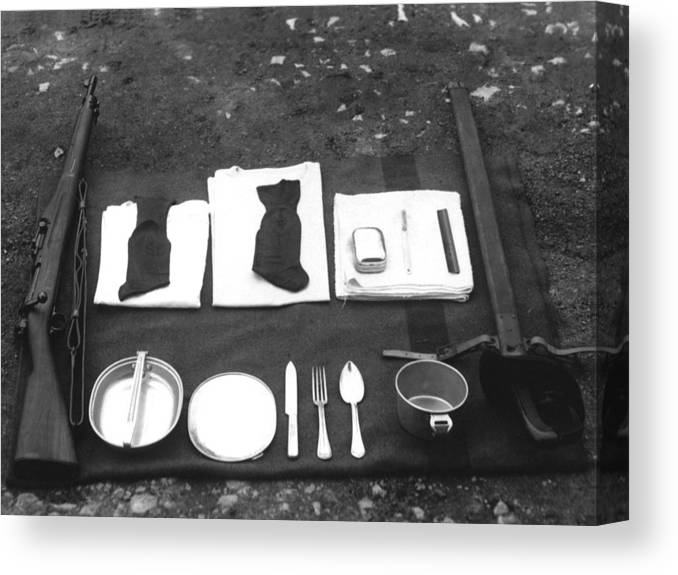 Soldiers Canvas Print featuring the photograph Soldiers Basic Gear 19171930 Black White 1910s by Mark Goebel