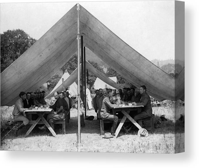 Soldiers Canvas Print featuring the photograph Soldiers Eating In Mess Tent 19061909 Black by Mark Goebel