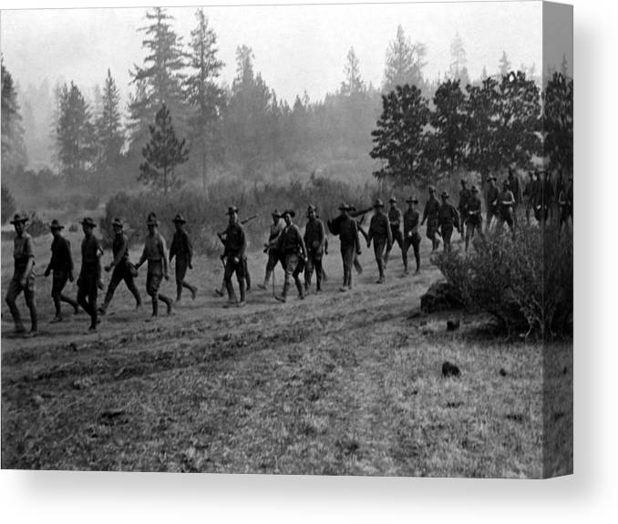Soldiers Canvas Print featuring the photograph Soldiers Maneuvers Circa 1908 Black White 1900s by Mark Goebel