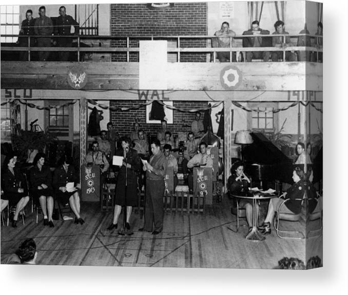 Uso Canvas Print featuring the photograph Uso Show May 5 1944 Black White 1940s Archive by Mark Goebel
