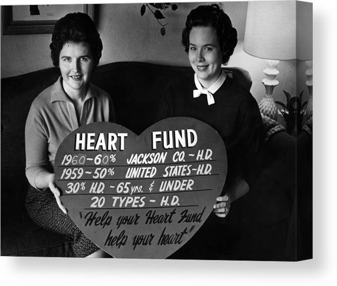 Women Canvas Print featuring the photograph Women Females Heart Fund Sign 19591960 Black by Mark Goebel