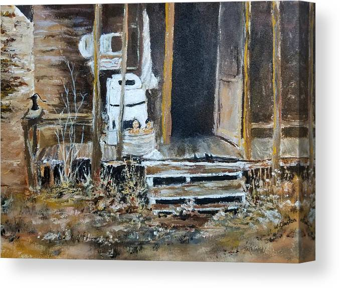 Back Porch Canvas Print featuring the painting Back Porch by William Clanton