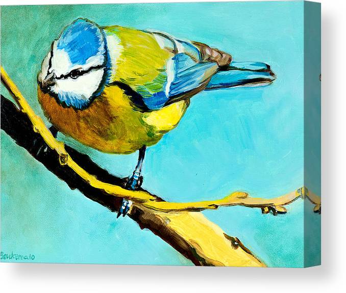 Bird Canvas Print featuring the painting Blue On His Stick by Debbie Beukema