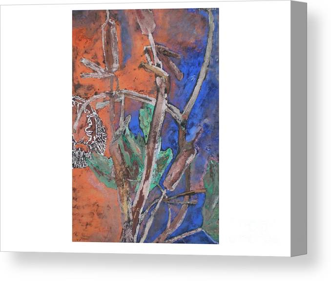 Dried Flower Canvas Print featuring the painting Cat Tails And Sun Flower by Hal Newhouser