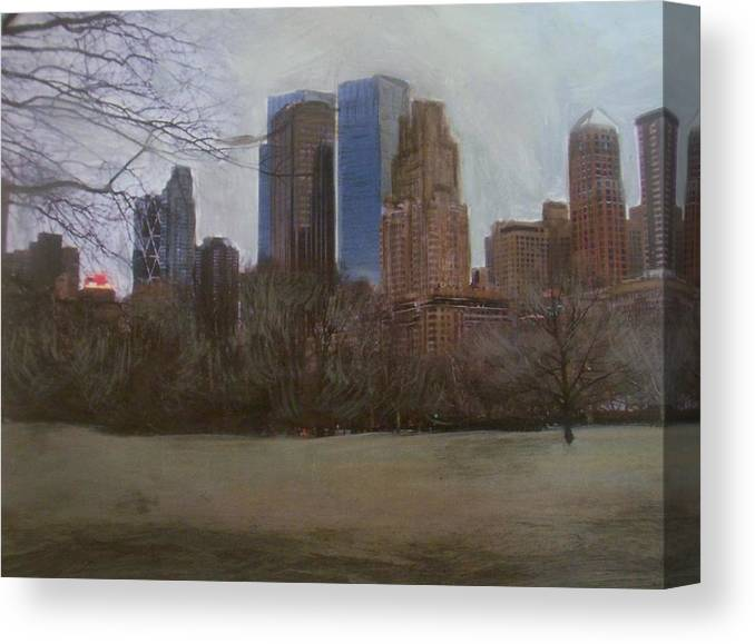 Central Park Canvas Print featuring the painting Central Park by Anita Burgermeister
