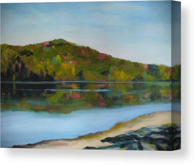 Lake Canvas Print featuring the painting Deer Lake by Joe Lanni