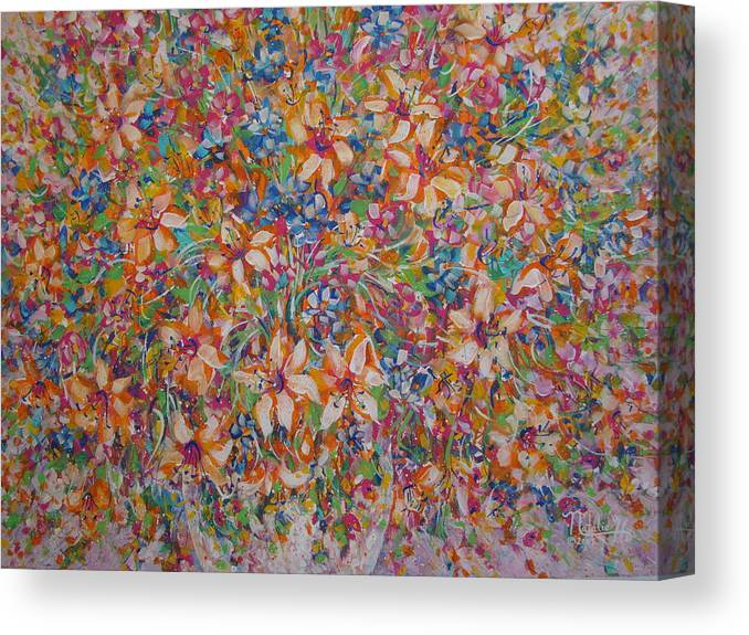 Flowers Canvas Print featuring the painting Flower Galaxy by Natalie Holland