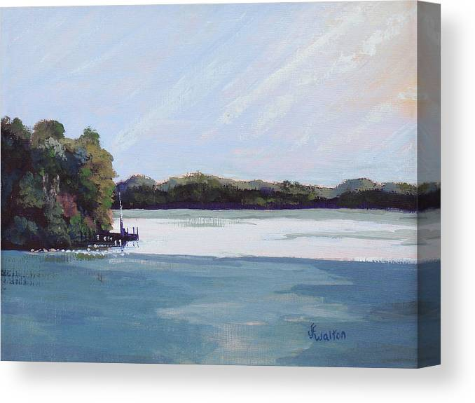 Landscape Canvas Print featuring the painting Gibralter Morn by Judy Fischer Walton
