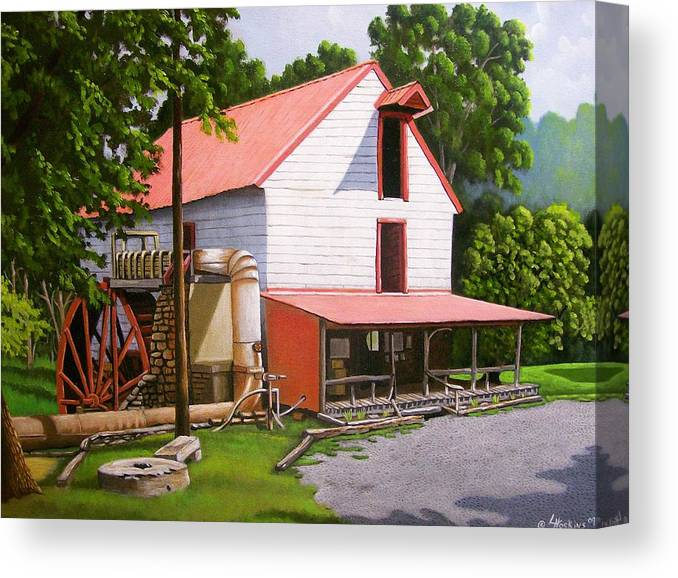 Landscapes Canvas Print featuring the painting Guilford Mill by Larry Hoskins