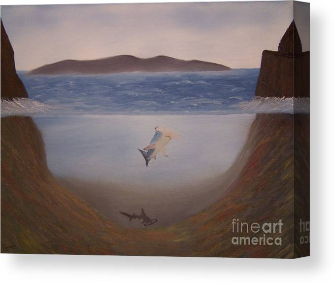 Landscapes Canvas Print featuring the painting Hammerheads by Chet Wheeler