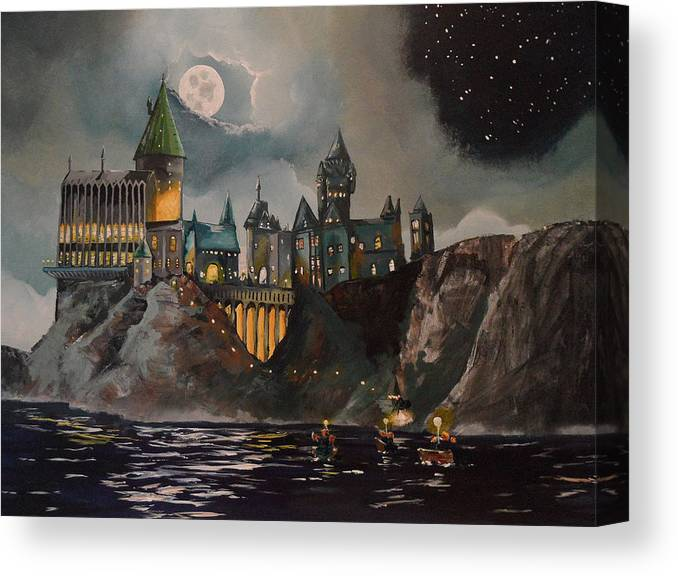 Harry Canvas Print featuring the painting Hogwart's Castle by Tim Loughner