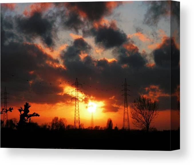 Sky Canvas Print featuring the photograph Nature And Technics by Ingrid Stiehler