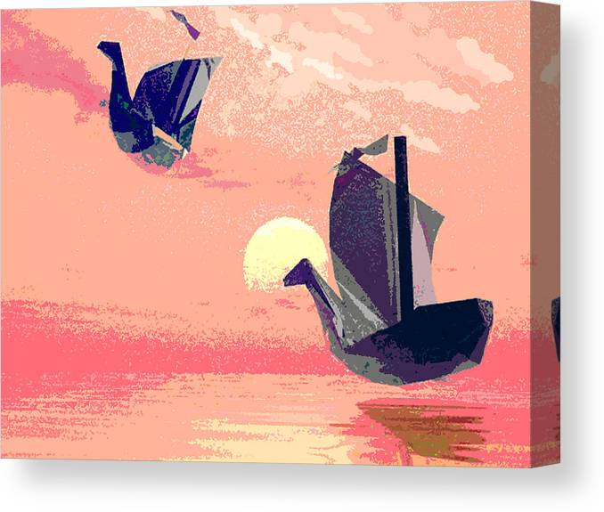 Ship Canvas Print featuring the digital art Swan Ships Leaving The Sea by Alexandra Cook