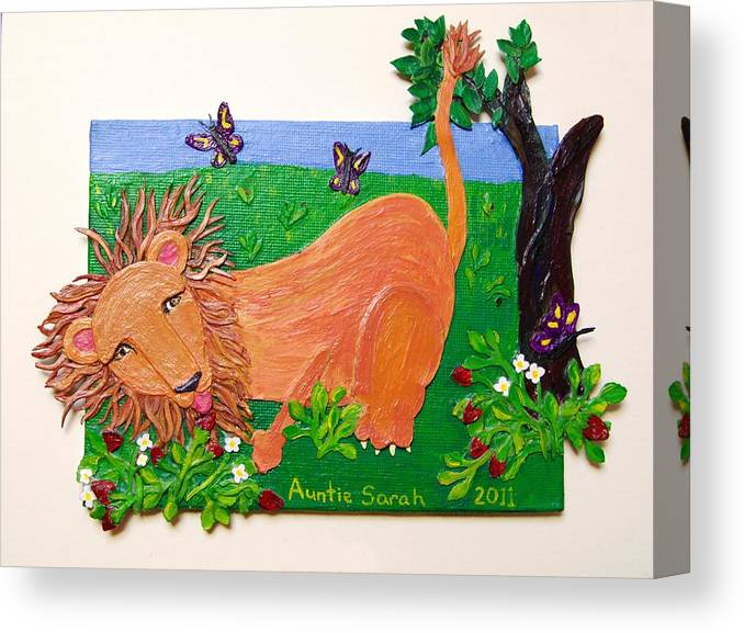 Lion Canvas Print featuring the mixed media The Lion Who Loves Strawberries by Sarah Swift