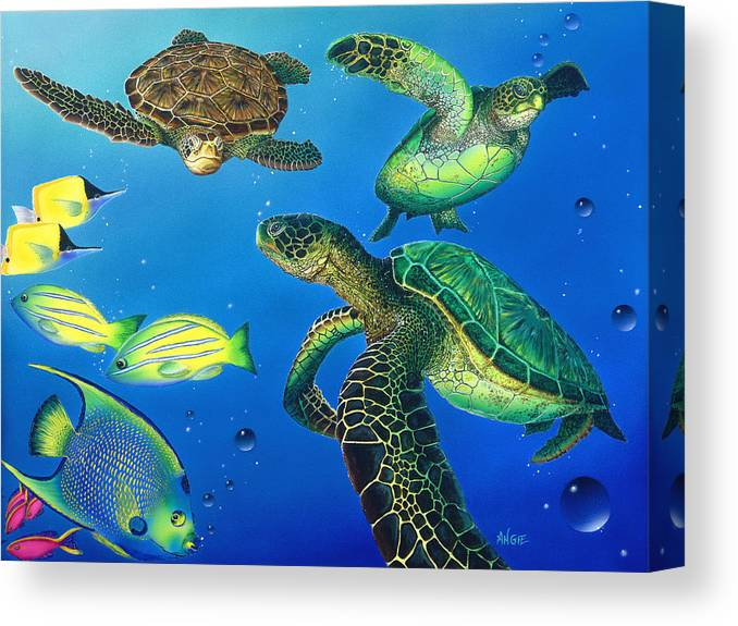 Turtle Canvas Print featuring the painting Turtle Towne by Angie Hamlin