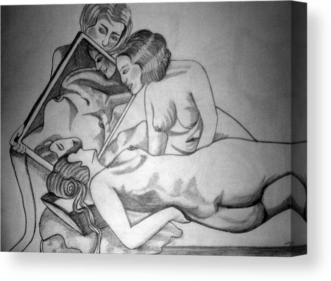 Deco Canvas Print featuring the drawing 1920s Women Series 7 by Tammera Malicki-Wong