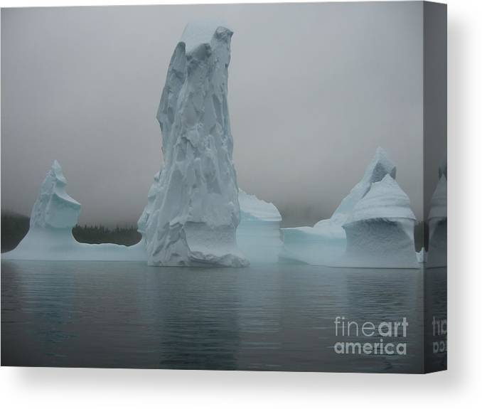 Icebergs Newfoundland Canvas Print featuring the photograph Icebergs by Seon-Jeong Kim