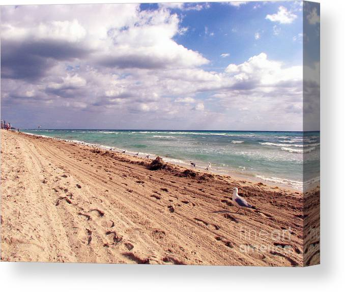 Beaches Canvas Print featuring the photograph Miami Beach by Amanda Barcon