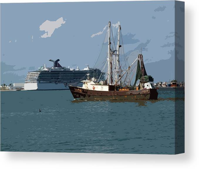 Florida Canvas Print featuring the painting Port Canaveral In Florida Usa by Allan Hughes